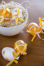 Easter eggs in the straw Stock Photo