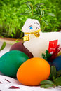 Easter eggs and sugar lamb Royalty Free Stock Photo
