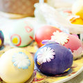 Easter eggs on table colorful Stock Images