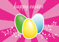 Easter eggs three colored illustration on pink rays background Stock Photos