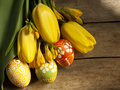 Easter eggs and tilips Stock Images