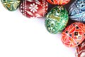 Easter eggs top view of frame on white background Royalty Free Stock Images