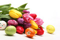 Easter eggs with tulips Royalty Free Stock Photography