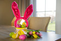Easter eggs and tulips with ears of hare Royalty Free Stock Photography