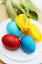 Easter eggs and tulips passover holiday still life yellow Royalty Free Stock Image