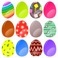 Easter eggs twelve decorated and colored for egg hunt isolated on white Stock Photos