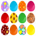 Easter eggs twelve decorated and colored for egg hunt on white Royalty Free Stock Image