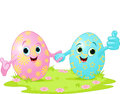 Easter eggs two cute holding hands Royalty Free Stock Image