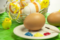 Easter eggs typical colorful decorated Stock Images