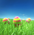 Easter eggs under sky on the grass Royalty Free Stock Photos