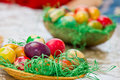 Easter eggs in various colors Stock Images