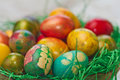 Easter eggs in various colors Stock Photo