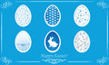 Easter eggs vector blue background Stock Photos