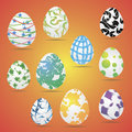 Easter eggs vector icons. Easter eggs for Easter holidays design. Easter eggs isolated on white background.