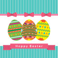 Easter eggs vector illustration with banner Stock Images