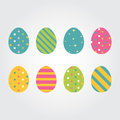 Easter eggs Vector illustration icons flat style for greeting card decoration. Colorful Easter eggs for Easter holidays design iso
