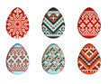 Easter eggs vector set in paper cut style for banner, spring card or background design. isolated pixel tribal ornate