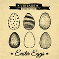 Easter eggs vintage collection hand drawn set of on the background with repeating geometric tiles of rhombuses Stock Photo