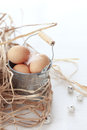 Easter eggs in a vintage tin pot closeup Stock Photos