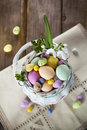 Easter eggs in the white basket on rustic wooden background