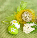 Easter eggs and  white hyacinth Royalty Free Stock Image