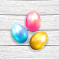 Easter eggs on white wooden background Royalty Free Stock Photos