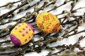 Easter eggs on a willow branches with catkins Stock Images