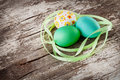 Easter eggs wood background Stock Images