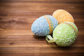 Easter eggs on wooden background a Royalty Free Stock Photo