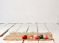 Easter eggs on wooden floor Stock Photography