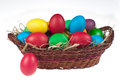 Easter eggs wooden pannier white background Stock Images