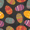 Easter eggs on wooden planks background vector eps Royalty Free Stock Photography