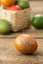 Easter eggs on wooden table Stock Photo