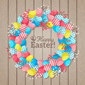 Easter eggs wreath on wooden bright background in flat rustic style with place for your text vector illustration template design Stock Photography