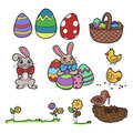 Easter elements vector collection of design hand drawn Stock Photo