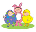 Easter fancy dress hand drawn picture of children dressed up for illustrated in a loose style vector eps available Stock Photos