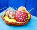 Easter festive egg and cookie in basket Royalty Free Stock Image