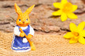 Easter finery woman bunny returns with the broom Royalty Free Stock Photography