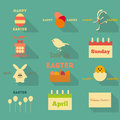 Easter flat icons collection in design style illustration Royalty Free Stock Photo