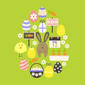 Easter Flat Icons Set Egg shaped over green