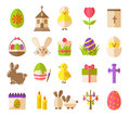 Easter flat icons. Spring holiday vector signs like flower and cake, gift basket isolated on white background Royalty Free Stock Photo