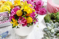 Easter floral arrangement in white egg shell Royalty Free Stock Photo
