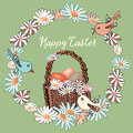 Easter Floral Wreath With Bask...