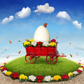 Easter flowerbed the beautiful background with and flowercart Stock Photos