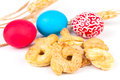 Easter food homemade sweet bagels and colored eggs traditional from apulia italy Royalty Free Stock Photos