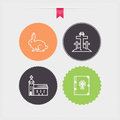 Easter four concept icons spring from left to right top to bottom bunny crosses on the mount of olives church bible circle color Royalty Free Stock Photo