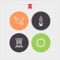 Easter four concept icons spring from left to right top to bottom pigeon candles pulpit crown of thorns circle color vector icons Royalty Free Stock Images