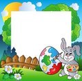 Easter frame with bunny artist Royalty Free Stock Photo