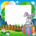Easter frame with bunny on egg Royalty Free Stock Images