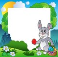 Easter frame with bunny and eggs Royalty Free Stock Photos